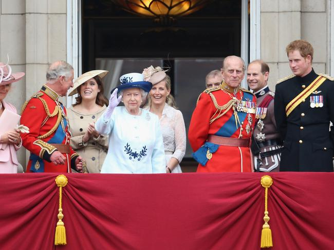 Happy birthday ... The royal family look on from a Buckingham Palace balcony during the Trooping the Colour for the Queen's 88th birthday. Picture: AP
