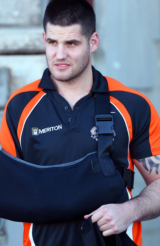 Ex Tigers player Simon Dwyer arrives at a Wests Tigers NRL training.