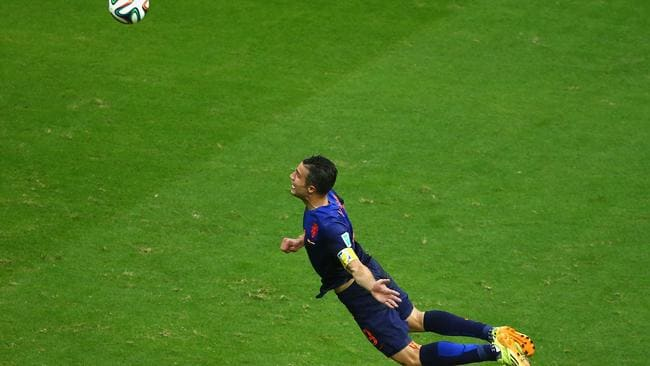 Robin van Persie scores the Netherlands' first goal.