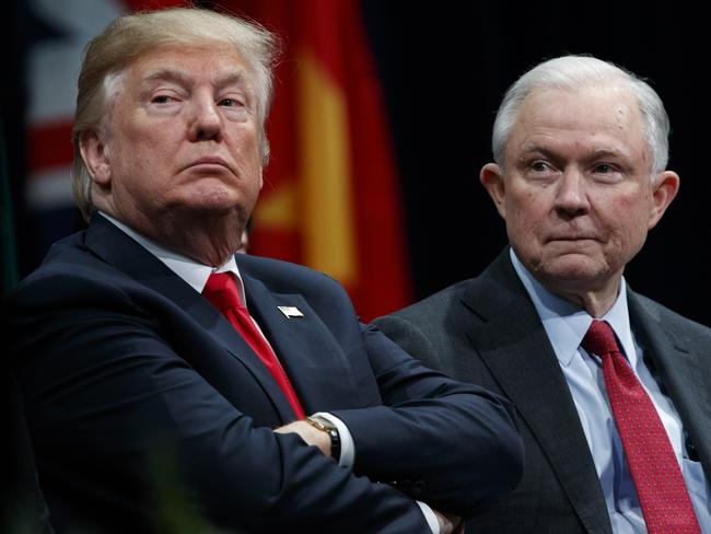 US President Donald Trump and Attorney General Jeff Sessions. Picture: AP Photo/Evan Vucci