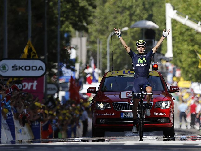 Portugal's Rui Alberto Costa celebrates as he is first to cross the finish line.
