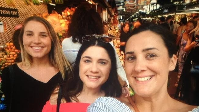 Melbourne friends Julia Rocca, Alana Reader, Julia Monaco were caught up in the Barcelona terror attack. Picture: SUPPLIED