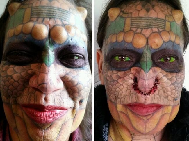 Tiamat's Lord Voldemort-inspired reptilian nose modification. Picture: Media Drum World/Australscope