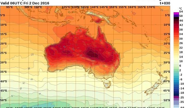 By late afternoon on Friday only southern Victoria and Tasmania will be free of the heat.