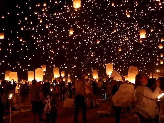 Thousands of lanterns light up the sky in memory of the Las Vegas shooting victims at the Rise Festival 2017. Picture: YouTube