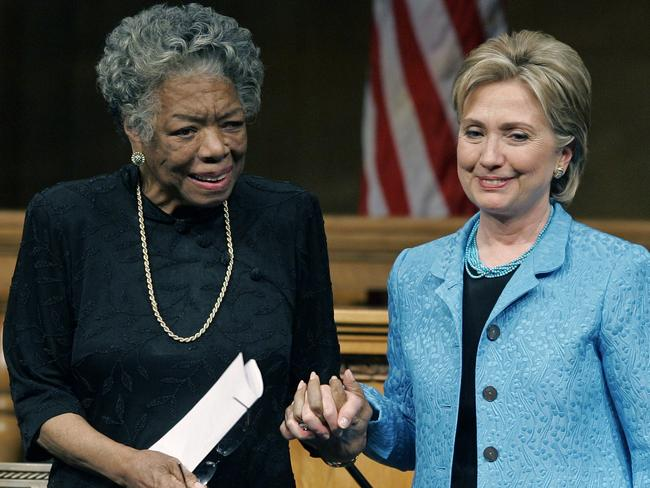 Maya Angelou with Hillary Clinton.