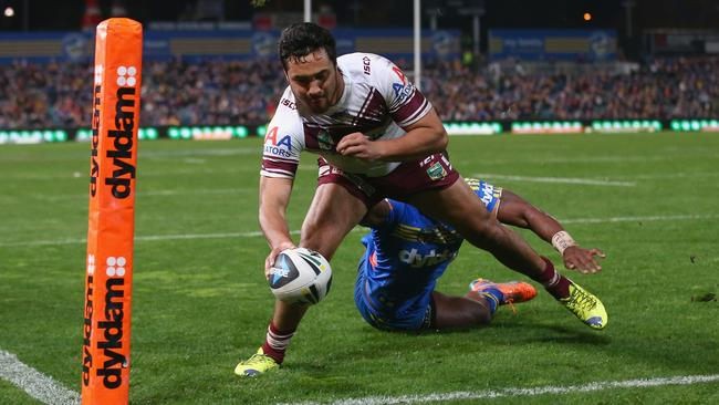 eta Hiku put Manly in front as the Sea Eagles cruised in the first half.