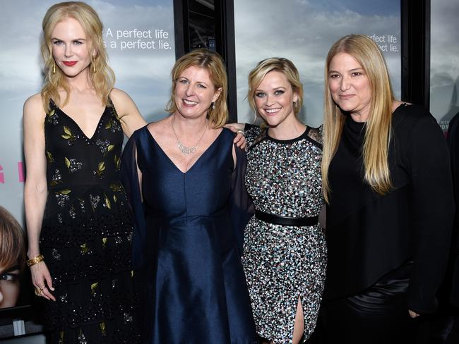 Nicole Kidman, author Liane Moriarty, Reese Witherspoon, and executive producer Bruna Papandrea at the premiere of HBO's 'Big Little Lies'. Picture: Kevork Djansezian/Getty Images