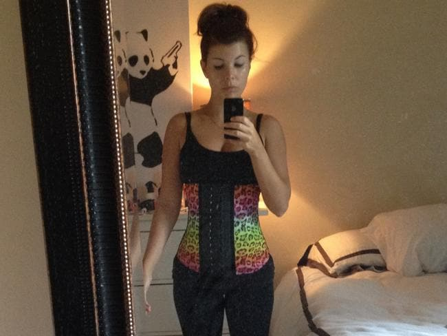The tasteful cheetah print waist trainer Jenny Hewett wore for a week.