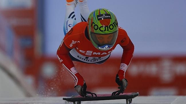 Elena Nikitina competes in a 2013 World Cup skeleton race.