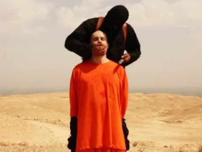 Sickening ... ISIS released footage this week showing a hooded militant behead American journalist James Foley. Picture: Twitter