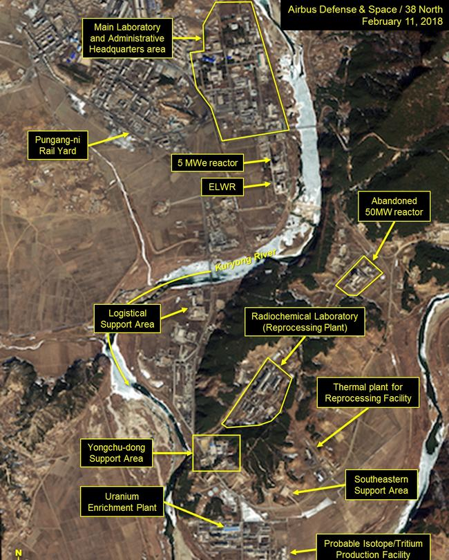 Work is taking place at North Korea's Yongbyon nuclear complex. Picture: CNES 2018, Distribution Airbus DS