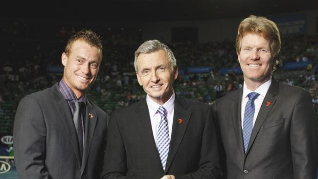 Expert opinion ... Lleyton Hewitt, Bruce McAvaney and Jim Courier are commentators for Seven's Australian Open coverage. Picture: Seven