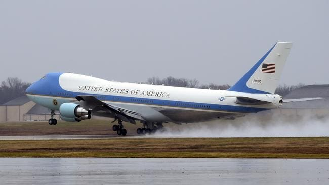 The mighty jet takes off from Andrews Air Force Base with President Obama on board.
