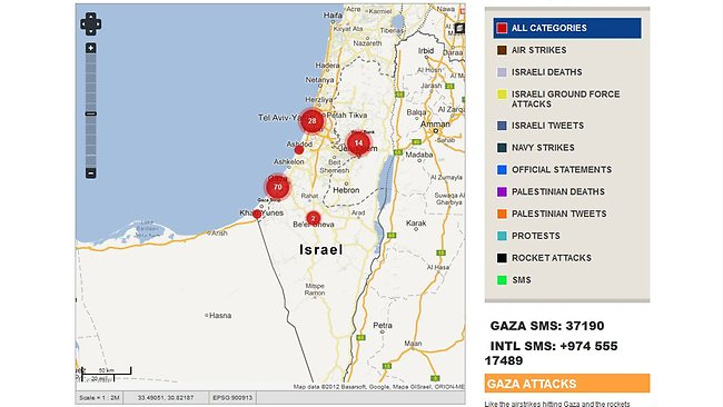 Al Jazeera have created an interactive map that plots social media posts across the region of conflict.