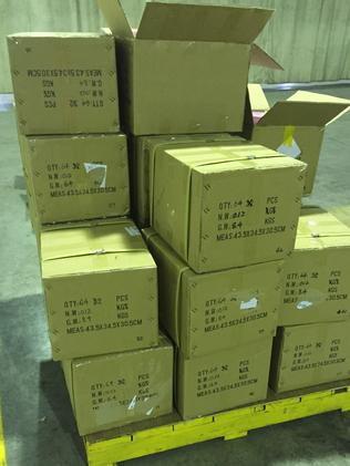 Boxes of push up bras in warehouse Picture: AFP National Media.