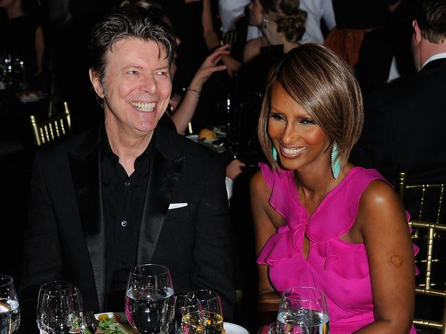 Musician David Bowie and supermodel Iman attend the DKMS' 5th Annual Gala: Linked Against Leukemia honoring Rihanna & Michael Clinton hosted by Katharina Harf at Cipriani Wall Street on April 28, 2011 in New York City. Picture: Andrew H. Walker/Getty Images for DKMS