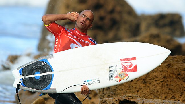 Kelly Slater enjoys the attention during the Rip Curl Pro at Bells Beach. Picture: Wayne Ludbey