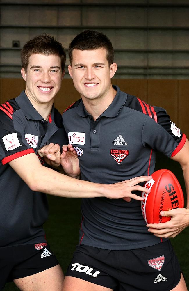 Essendon's young gun brothers, Zach (left) and Jacskon Merrett. Picture: Wayne Ludbey