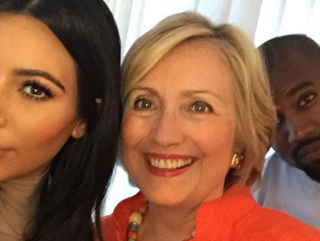 Hillary has some top celebrity supporters pictured here with Kim Kardashian West and Kanye West. Picture: Instagram