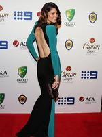 Jessica Bratich-Johnson wife of Mitchell Johnson on the red carpet of the 2014 Allan Border medal. Pic Brett Costello