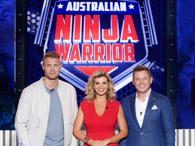 Hosts of Australian Ninja Warrior — Andrew Flintoff, Rebecca Maddern and Ben Fordham. Picture: Channel 9