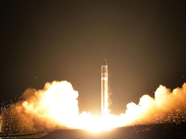 North Korea said it Hwasong-15 missile is capable of reaching all parts of the US. Picture: KNCA/AFP