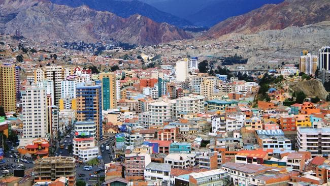 The sprawling metropolis of La Paz, Bolivia.