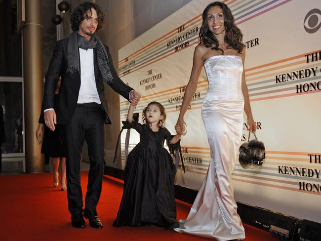 Cornell, left, his daughter Toni Cornell and wife Vicky Cornell hit the red carpet back in 2008. Picture: AP