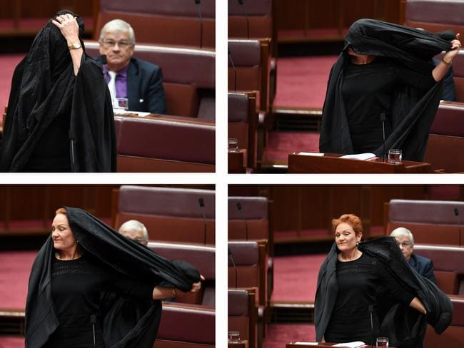 A combined picture of One Nation Senator Pauline Hanson taking off a burqa during Senate Question Time. Picture: AAP