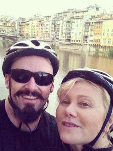 "Hugh Jackman and Deborra-Lee Furness took to their bikes to explore Florence, Italy. The actor, who has been spending time in London filming Pan, in which he plays Blackbeard, posted: ""Morning bike ride with my Deb. #lovinlife"" Picture: Instagram"