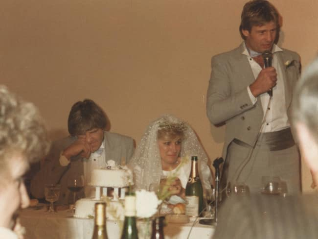 Sam Newman speaks at Fred Cook wedding. from the book, 'Fabulous Fred: The Strife and Times of Fred Cook by Paul Amy