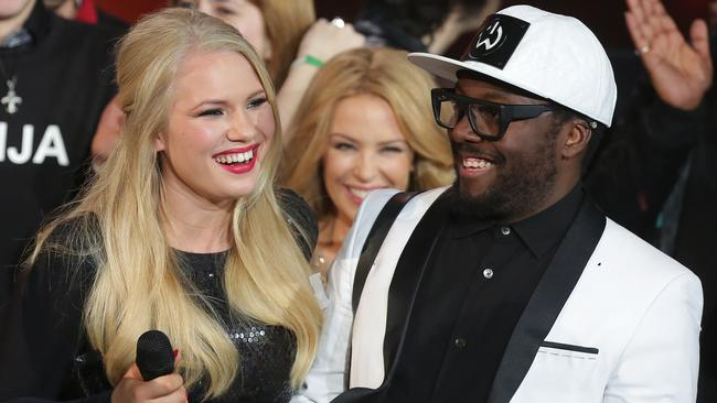 Good chemistry ... Anja Nissen with coach Will I Am celebrating her victory on The Voice.