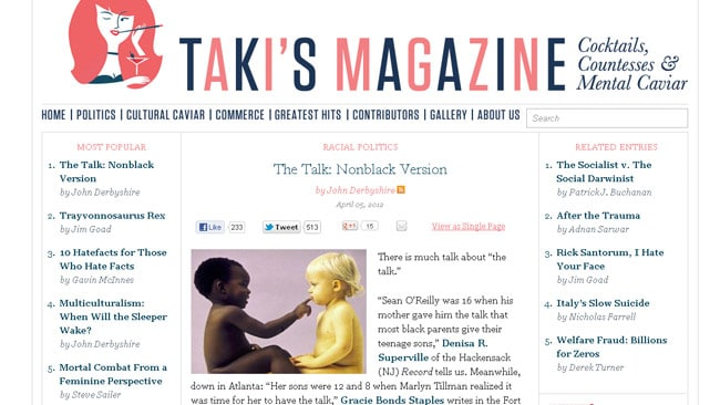 John Derbyshire's piece for Taki's Magazine has been labelled racist and in poor taste. Picture: Supplied