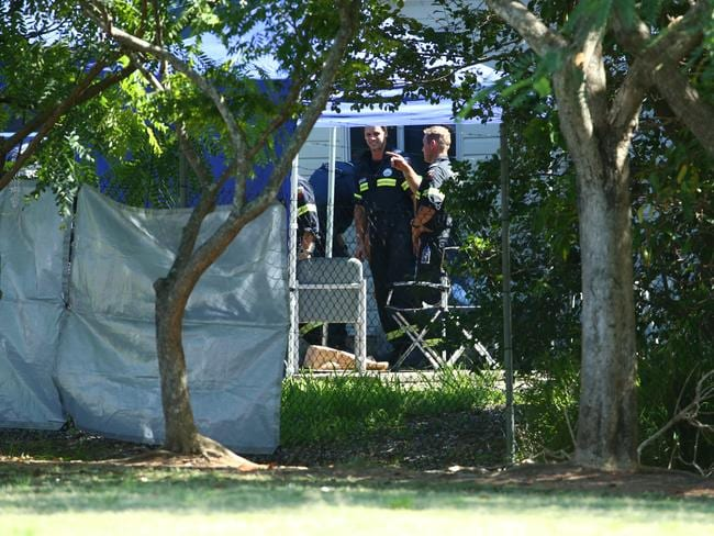 Police at the Brighton property. Picture: Liam Kidston