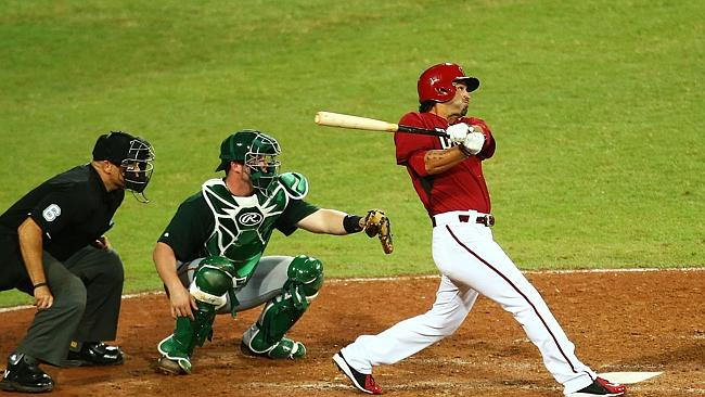 Eric Chavez of the Diamondbacks bats during the match between Team Australia and the Ariz