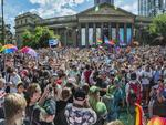 Thousands celebrate at the same-sex marriage result on the steps of the State Library of Victoria. Picture: Jason Edwards