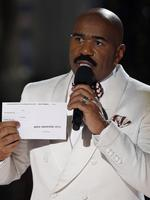 Steve Harvey holds up the card showing the winners after he incorrectly announced Miss Colombia Ariadna Gutierrez as the winner at the Miss Universe Pageant. Picture: AP
