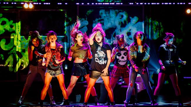 Members of the ensemble cast of American Idiot perform at QPAC's Playhouse in Brisbane. Picture: David Fell