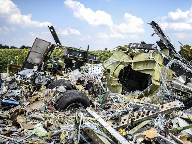 A photo taken on July 23, 2014 shows the carnage at the crash site of flight MH17, in a field near the village of Grabove, in the Donetsk region. Picture: AFP / Bulent Kilic