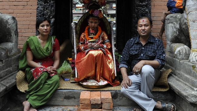 Nepal's Kumari is considered a living goddess and attends festivities on the first day of the Rato Machindranath Chariot Festival in Lalitpur, near Kathmandu. Picture: AFP/Prakash Mathema