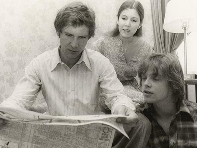 Flashback ... Carrie Fisher, Harrison Ford and Mark Hamill on the original set of Star Wars.