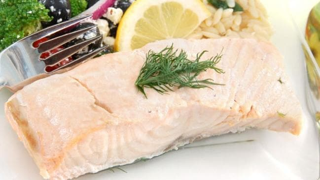 Poached salmon: a healthy dinner option.