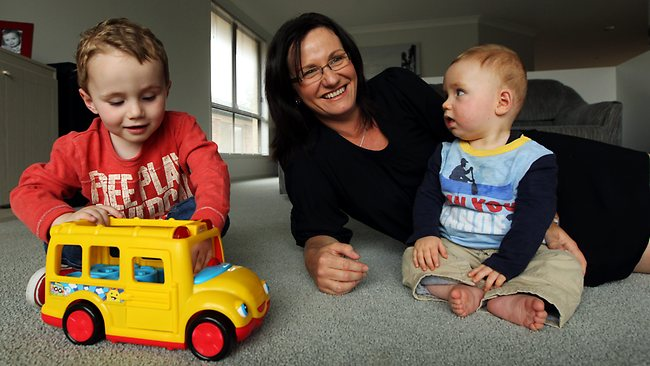 Jo-Anne Lloyd with her children Cooper, 3, and Owen, 8 months. Picture: Liam Driver