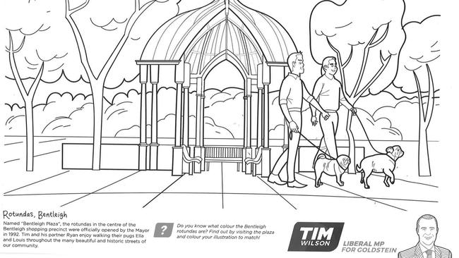 An inside page of Mr Wilson's colouring-in book to be distributed to schoolchildren in his electorate.