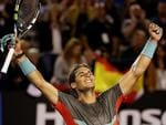 Rafael Nadal celebrates his straight sets win over Gael Monfils. Picture: Colleen Petch