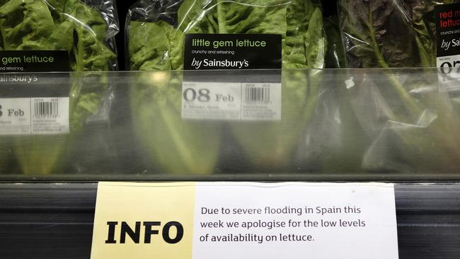 A sign warning of lettuce shortages is displayed in a supermarket in London. Picture: AP Photo/Kirsty Wigglesworth.