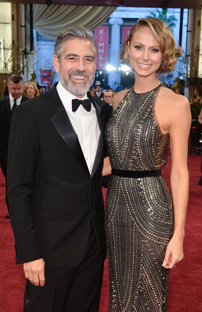 Old flame ... George Clooney and Stacy Keibler arrive at the Oscars in Hollywood, 2013.