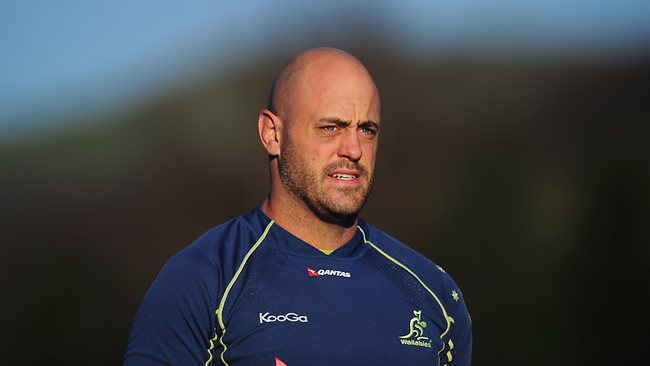 Wallabies captain Nathan Sharpe looks on during an Australia training at Treforest in Cardiff, Wales.