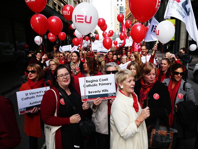 Teachers from Sydney and the Central Coast protested today with those from Parramatta, Penrith, the Blue Mountains and the Hills district expected to strike tomorrow. Picture: Brett Costello